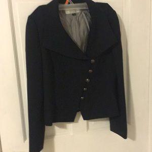 Tahari asymmetrical navy blazer 4P